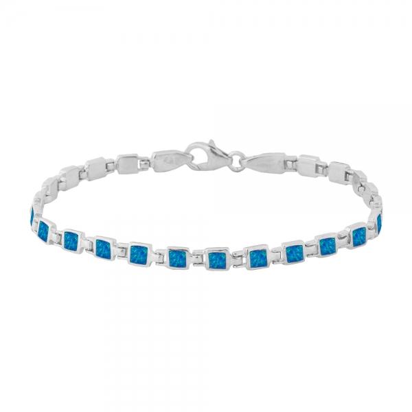 Bransoletka srebrna z niebieskim opalem 4032 Im