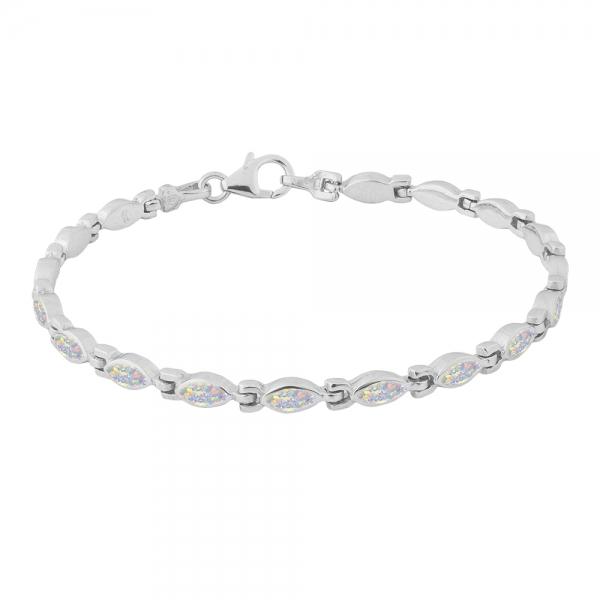 Kolczyki srebrne z białym opalem 4031 Im
