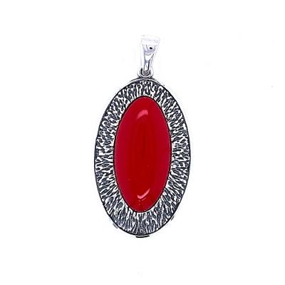 Zawieszka oksydowana, owalna z czerwonym kamieniem