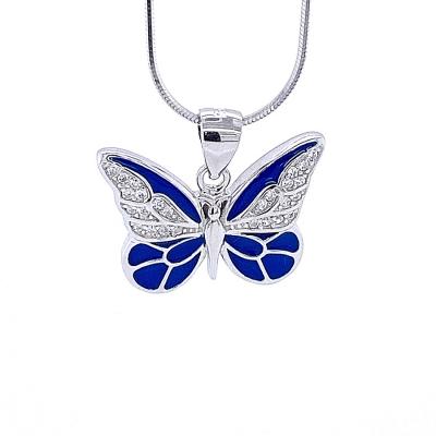 Zawieszka motyl emalia niebieska