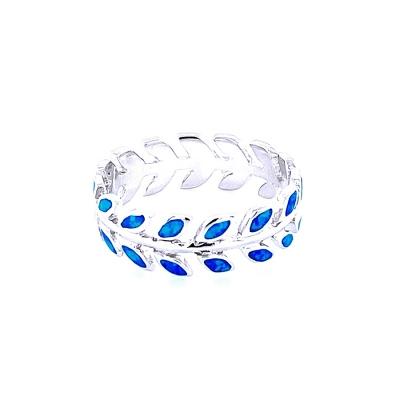 Pierścionek wieniec laurowy niebieski opal