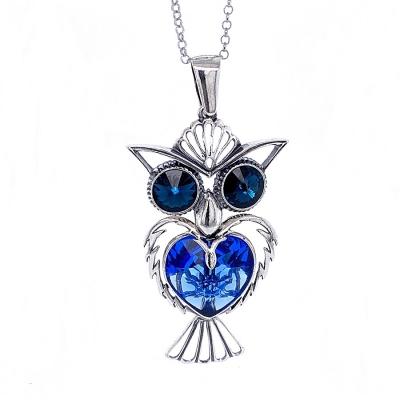 Zawieszka sowa, niebieski kryształ Swarovskiego