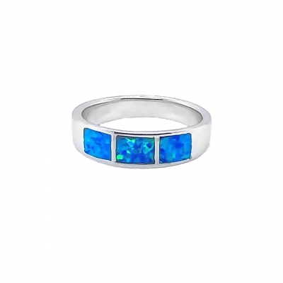 Pierścionek z niebieskim opalem OR 715