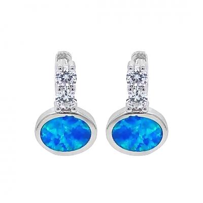 Kolczyki z niebieskim opalem TD 0004