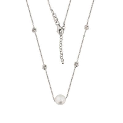 Celebrytka srebrna rodowana z perłą.