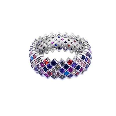 Obrączka z kolorowymi cyrkoniami w kształcie rombów